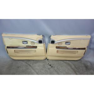 2003-2005 BMW E66 760Li V12 Front Int Door Panel Trim Skin Pair Beige Leather OE - 32374