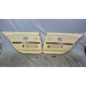 2003-2005 BMW E66 760Li V12 Rear Interior Door Panels Beige Perforated Leather - 32375
