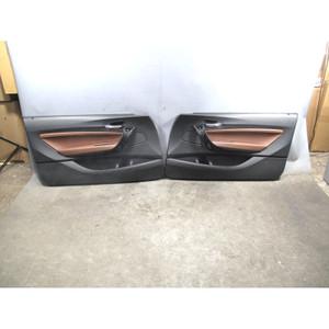 2014-2017 BMW F22 2-Series Front Interior Door Panel Trim Pair Terra Leather OEM - 32489
