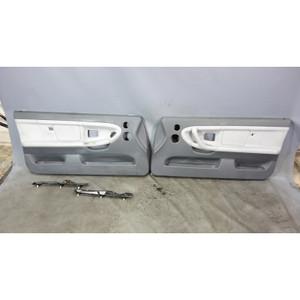 1998-1999 BMW E36 3-Sereis 2dr Front Int Door Panel Trim Skin Pair Dove Grey OEM - 33240