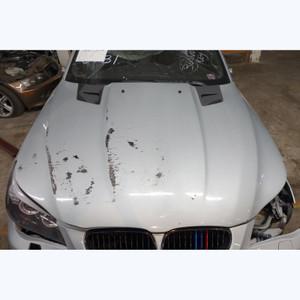 Damaged 2004-2010 BMW E60 5-Series Carbon Fiber Penta Style Hood w Vents Silver - 33696