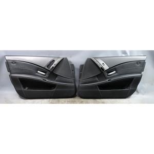 2006-2010 BMW E60 M5 Front Interior Door Panel Trim Skin Pair Black Leather OEM - 34105