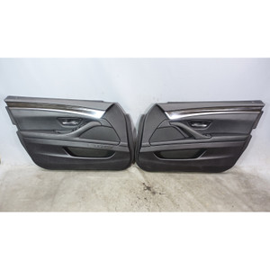 2011-2016 BMW F10 5-Series Sedan Front Interior Door Panel Trim Skin Pair Black - 34244
