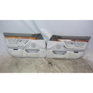 1996-2001 BMW E38 7-Series 740 Front Interior Door Panel Trim Skin Pair Grey OEM - 34388