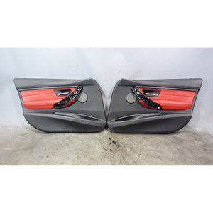 2012-2017 BMW F30 3-Series F31 Front Interior Door Panels Coral Red Leather OEM - 34407