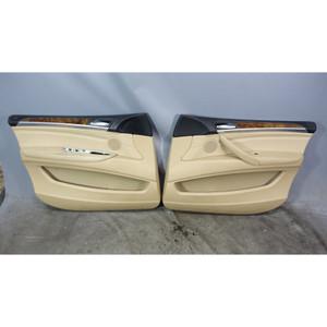 2009-2013 BMW E70 X5 SAV Front Interior Door Panel Trim Pair Beige Leather OEM - 34495