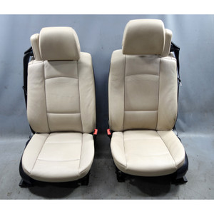 2010-2013 BMW E93 3-Series Convertible Front Seat Pair Oyster Leather Heat OEM - 34578