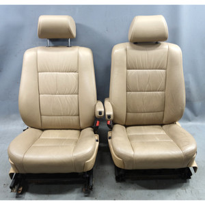 1989-1990 BMW E34 5-Series Factory Front Seat Pair Natural Bison Leather w Heat - 34585
