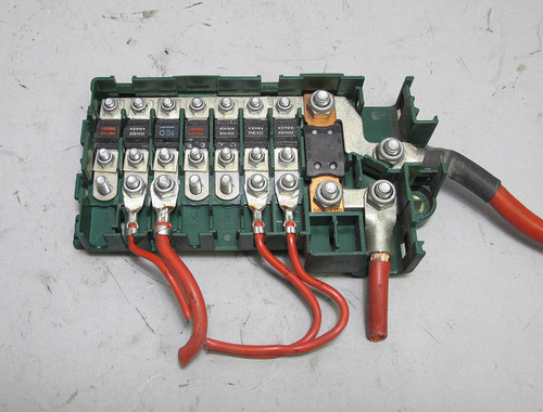 [SCHEMATICS_48ZD]  BMW E39 5-Series Trunk Fuse Box Bus Bar Power Junction Green 1995-2003 OEM  USED - Prussian Motors | Power Fuse Box |  | Prussian Motors