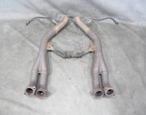 1994-1995 BMW E34 530i M60B30 V8 Front Exhaust Down Pipe Set w Dents Flanges OEM - 21199