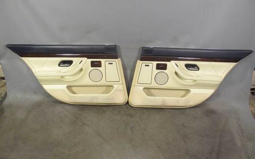 1999-2001 BMW E38 750iL V12 Rear Interior Door Panel Trim Skin Pair Pearl Beige - 21573