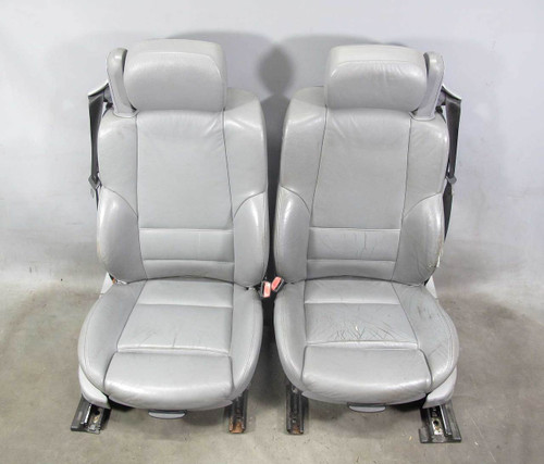 2000-2006 BMW E46 3-Series Convertible Front Sports Seats Pair Grey Leather OEM - 21576