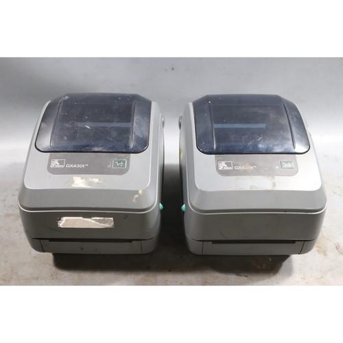FOR PARTS OR REPAIR Lot of 2 Zebra GX430T Thermal Transfer Label Printers - 23759