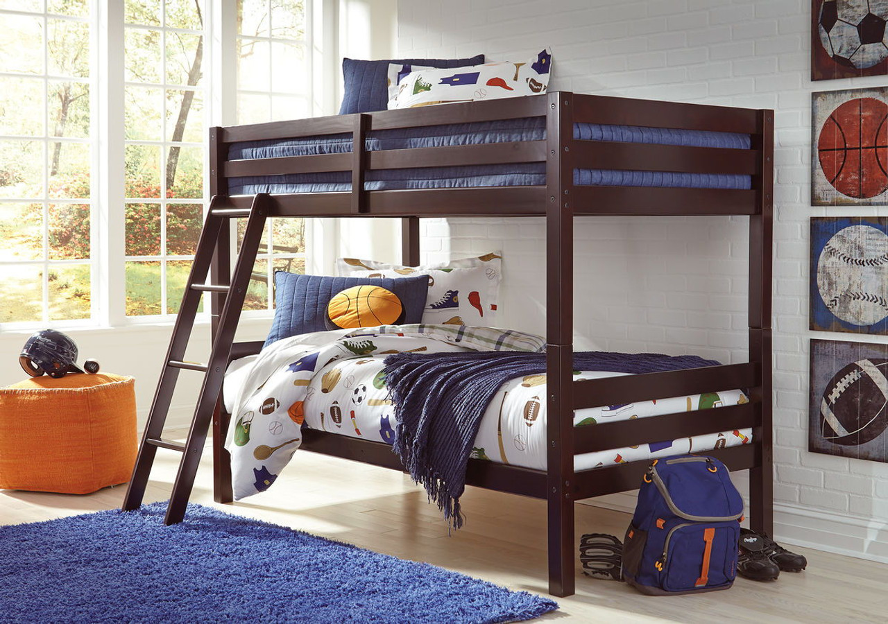 Picture of: Ashley Halanton Dark Brown Twin Twin Bunk Bed W Ladder On Sale At Mike S Furniture Serving Joliet Il Chicagoland And Will County