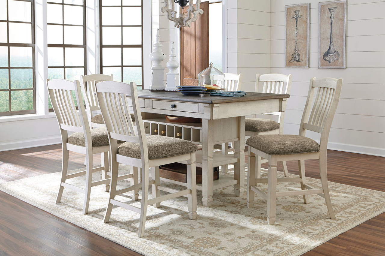 Ashley Bolanburg Antique White 7 Pc Rectangular Counter Height Dining Set On Sale At Mike S Furniture Serving Joliet Il Chicagoland And Will County