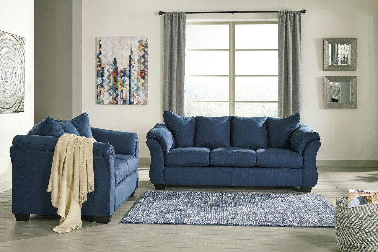 Ashley Darcy Blue Sofa Couch Loveseat On Sale At Mike S Furniture Serving Joliet Il Chicagoland And Will County