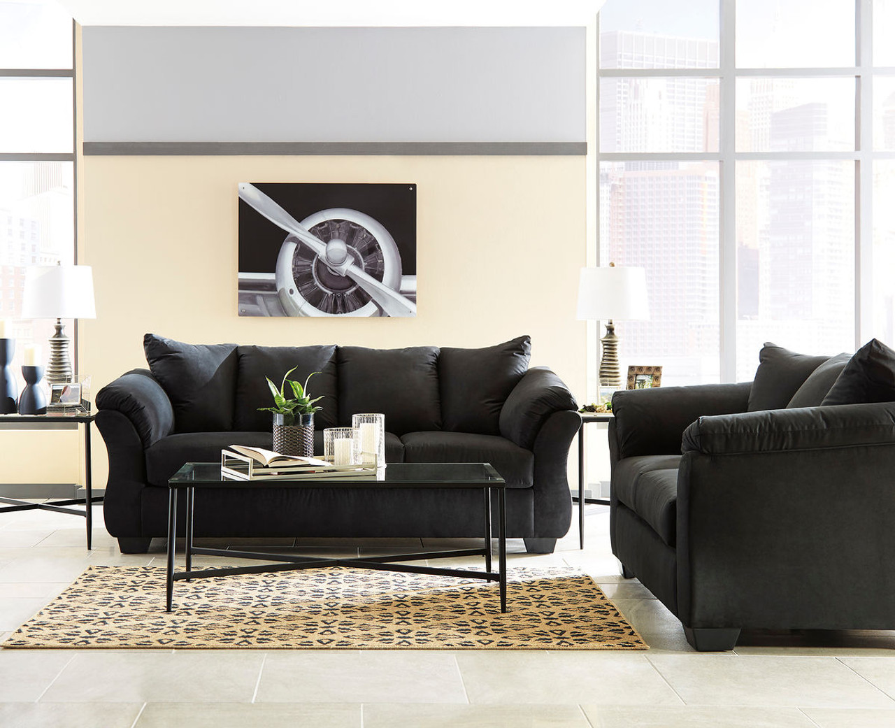 Awesome Ashley Darcy Black Sofa Couch Loveseat Augeron Table Set Ibusinesslaw Wood Chair Design Ideas Ibusinesslaworg
