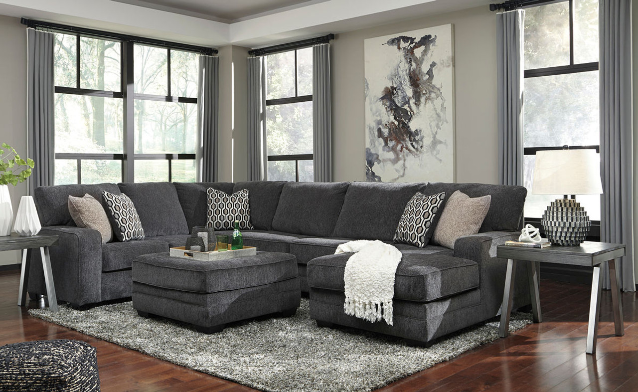 Ashley Tracling Slate Left Arm Facing Right Arm Facing Sectional On Sale At Mike S Furniture Serving Joliet Il Chicagoland And Will County