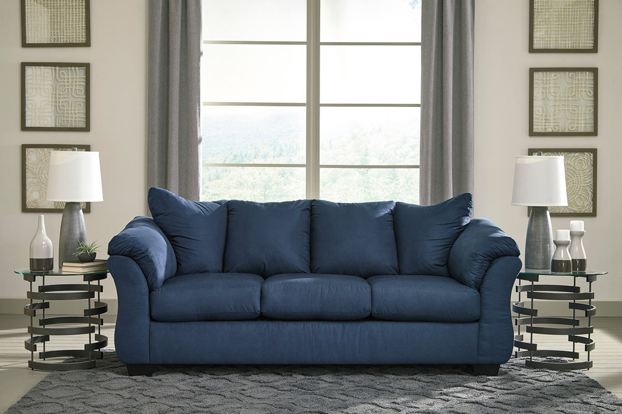 Ashley Darcy Blue Sofa Couch On Sale At Mike S Furniture Serving Joliet Il Chicagoland And Will County