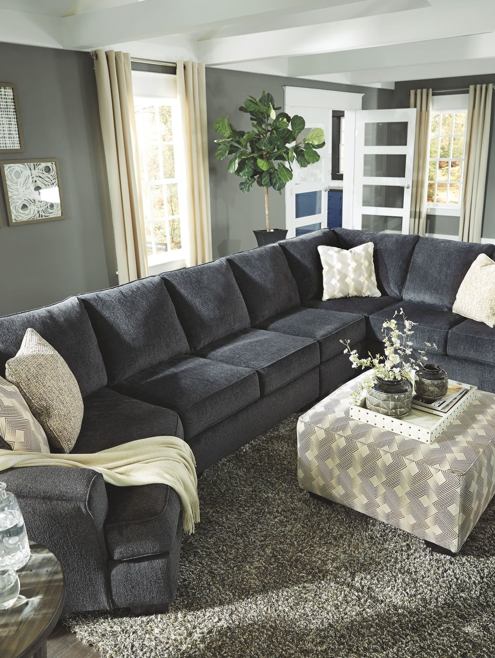 Ashley Eltmann Slate Laf Cuddler Armless Loveseat Armless Chair Raf Sofa Couch With Corner Wedge Sectional Accent Ottoman On Sale At Mike S Furniture Serving Joliet Il Chicagoland And Will County