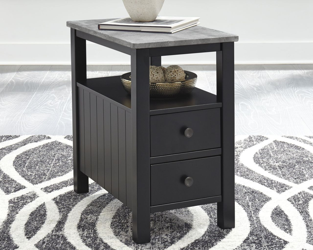 1b8fa1cc9f8603 Ashley Ezmonei Black/Gray Chair Side End Table on sale at Mike's ...