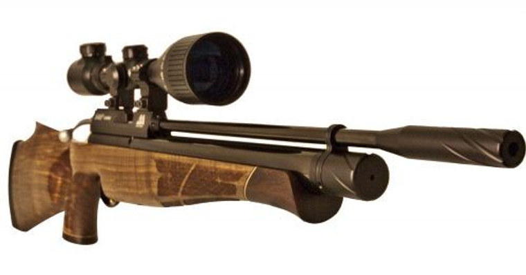 Keen's Tackle & Guns Stock The Air Arms S410 Thumb Hole Multi-Shot Air Rifle with traditional bolt action and adjustable two stage trigger.