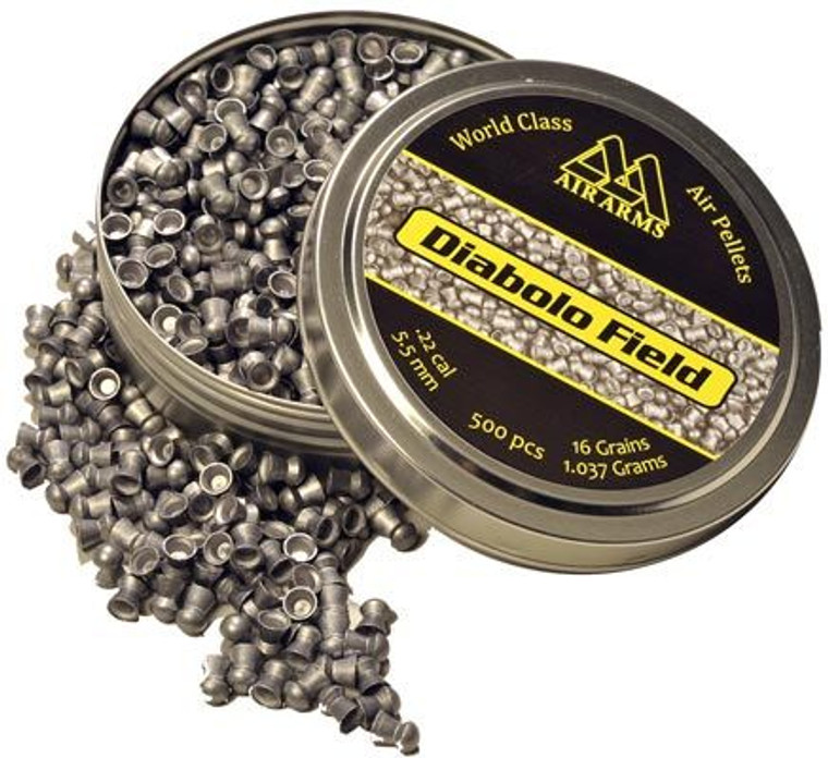 Keen's Tackle & Guns Stock The Air Arms Field Dome Pellets either .177 or .22 calibre with 500 pellets per tin.