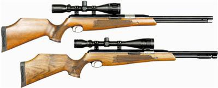 Keen's Tackle & Guns Stock The Air Arms TX 200/ TX200 HC Walnut Air Rifle with a direct barrel loading built-in moderator.