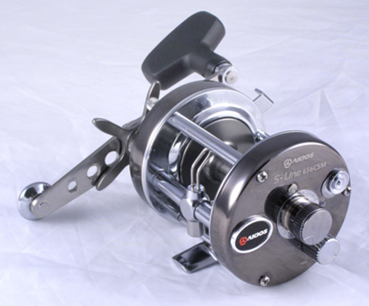 Keen's Tackle & Guns Stock the Akios S-line 656 CSM/CTM Multiplier Beach Fishing Reel with 2 ball bearings, 5.3:1 retrieve and carbon multi disc drag.