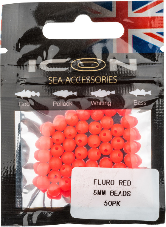 ICON Fluro Red 5mm Beads (50pk)