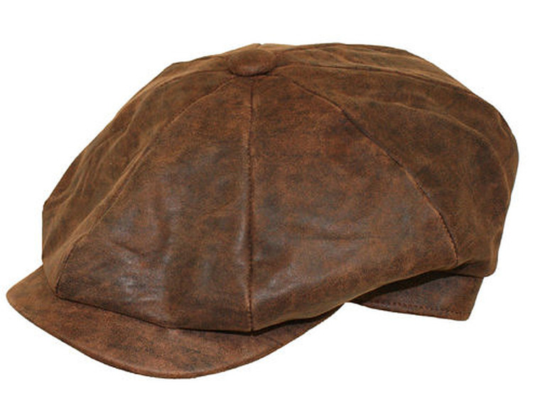 Denton Distressed Leather Gatsby Cap