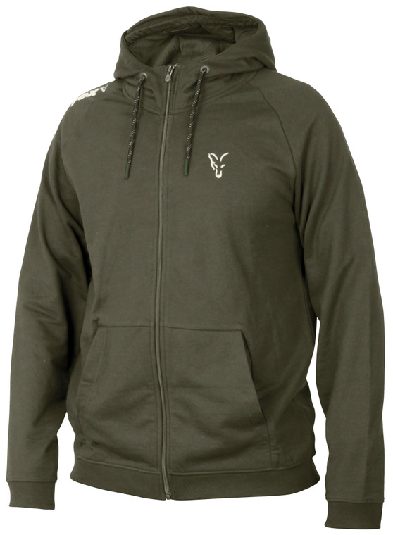Fox Collection Green & Silver Lightweight Hoodie with front zip and pull sting hood