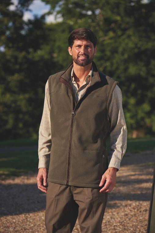 Portree micro bonded fleece bodywarmer in an olive colour