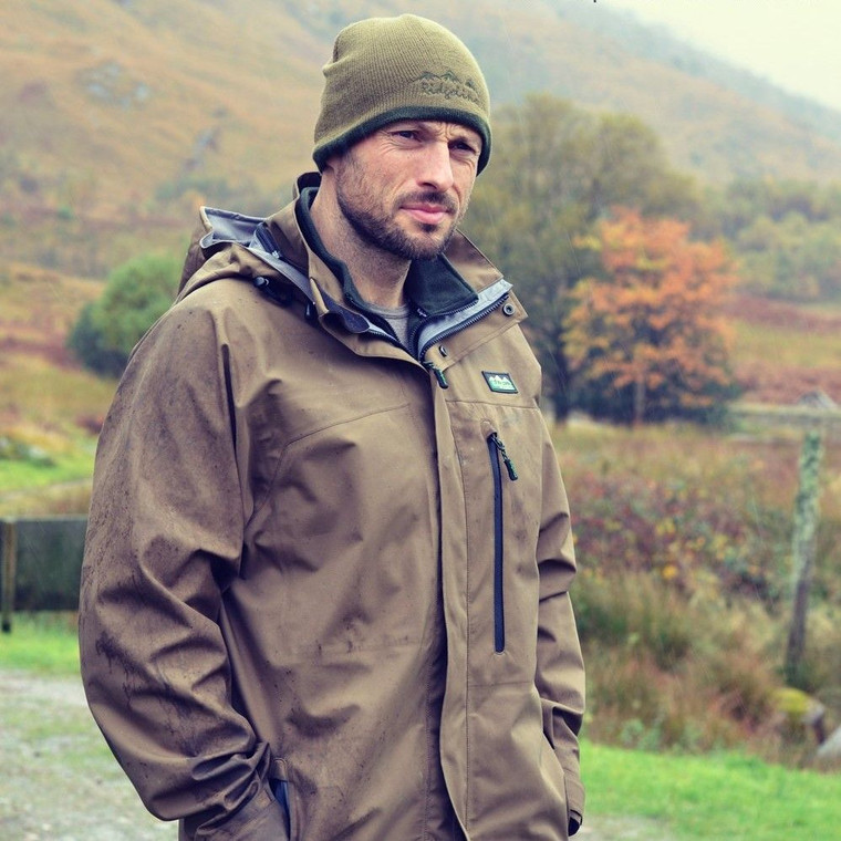 Evolution Jacket from Ridgeline in a heather brown colour is lightweight, waterproof and breathable.