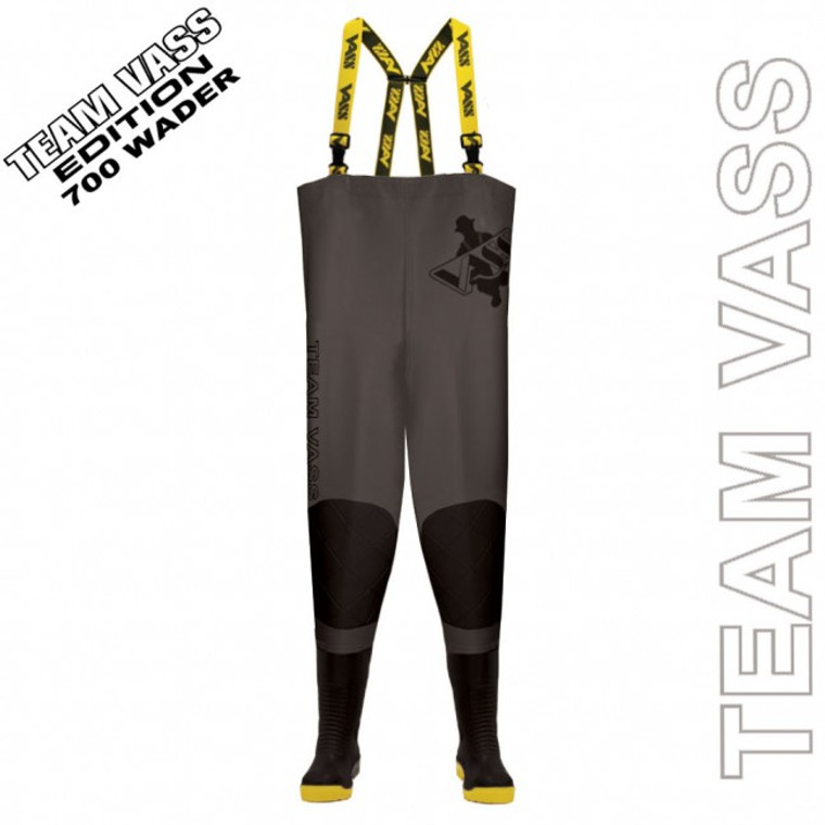 Team Vass 700 Edition Chest Wader (Studded) Black/Grey