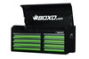 BOXO USA UAC45081-G 8 Drawer Top Chest Gloss Black - Gloss Green Drawers with Black Anodized Drawer Pulls