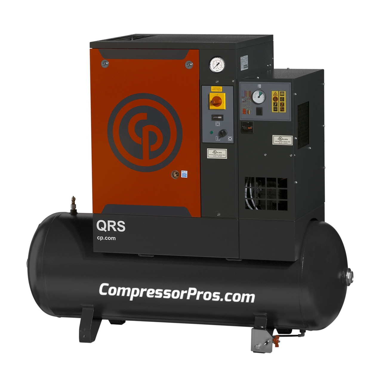 Chicago Pneumatic QRS7.5HPD-1 7.5 HP Single Phase Rotary Screw Air Compressor with Dryer