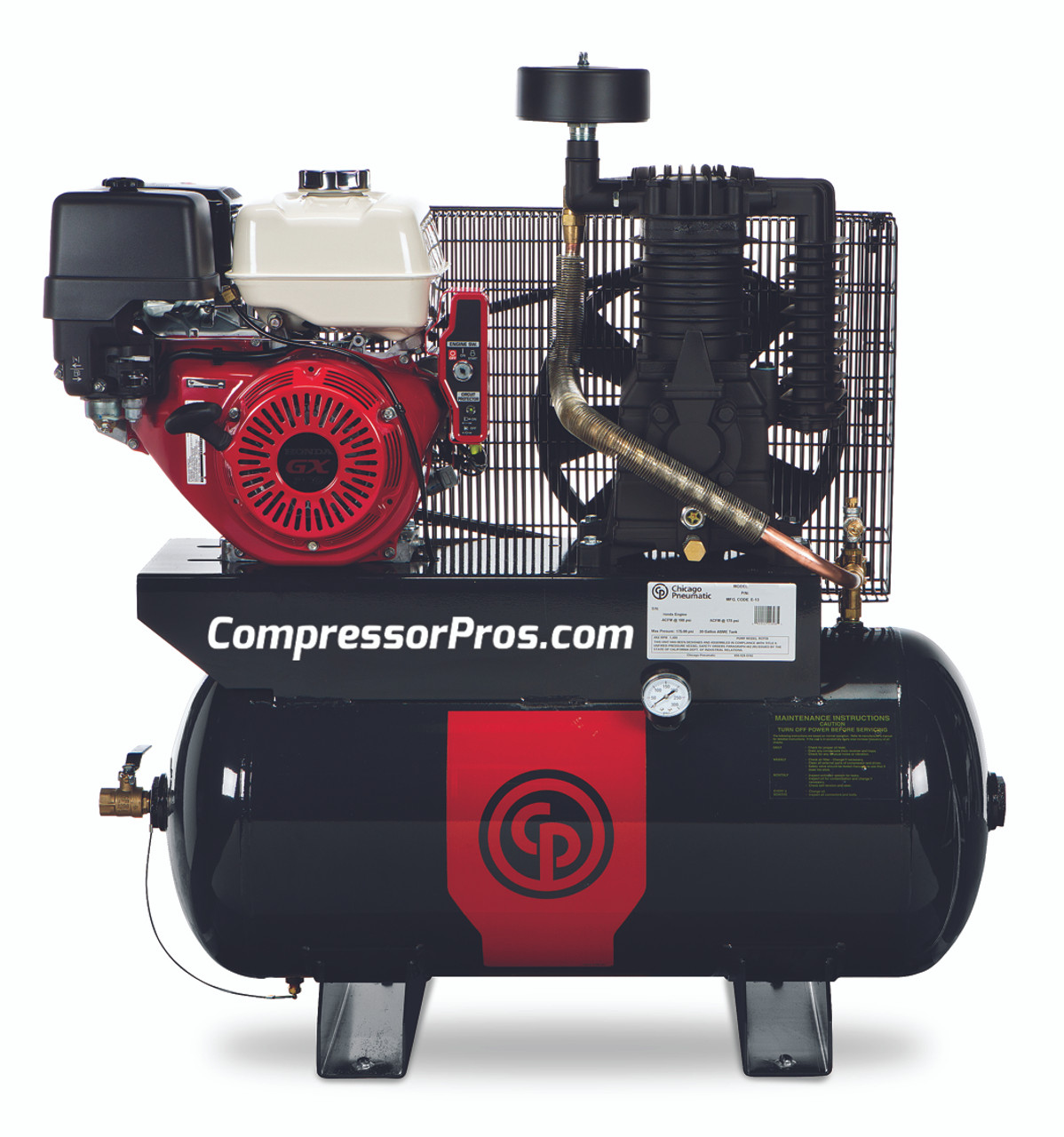 Chicago Pneumatic RCP 1130G 11 HP Honda Two Stage Gasoline Driven 30 Gallon Air Compressor