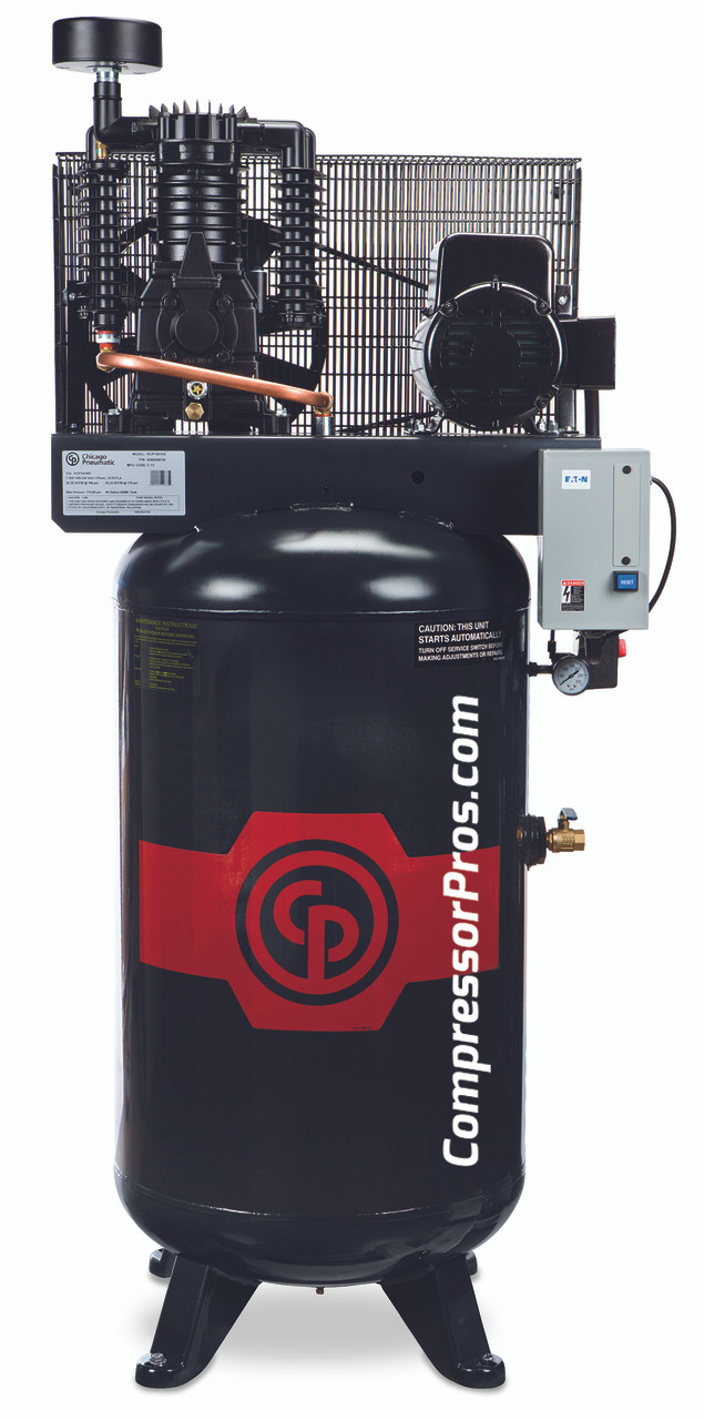 Chicago Pneumatic RCP-7583V 7 5 HP 208-230 Volt Three Phase Two Stage 80  Gallon Full Featured Air Compressor