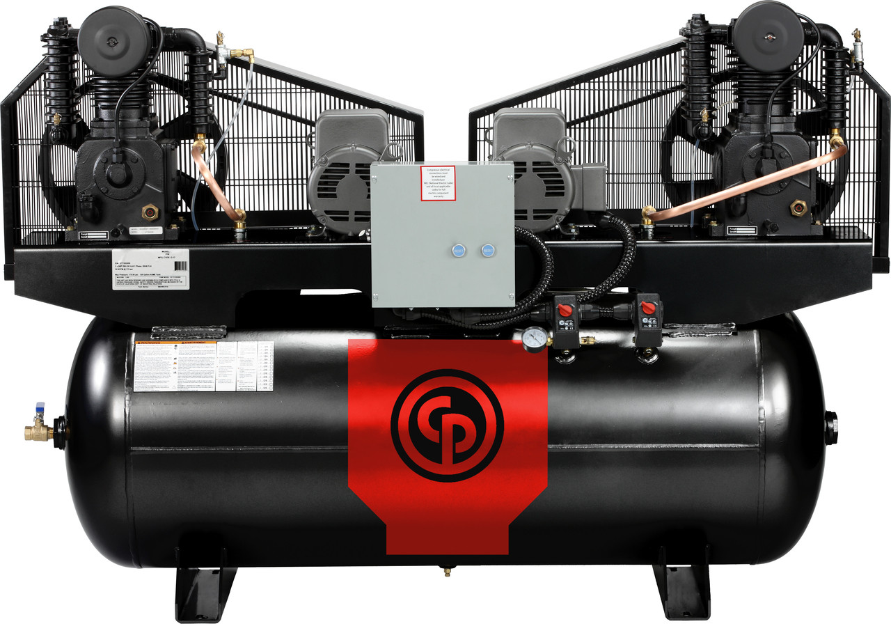 Chicago Pneumatic RCP-C10121D 2 x 5 HP 208-230 Volt Single Phase Two Stage Cast Iron 120 Gallon Duplex Air Compressor