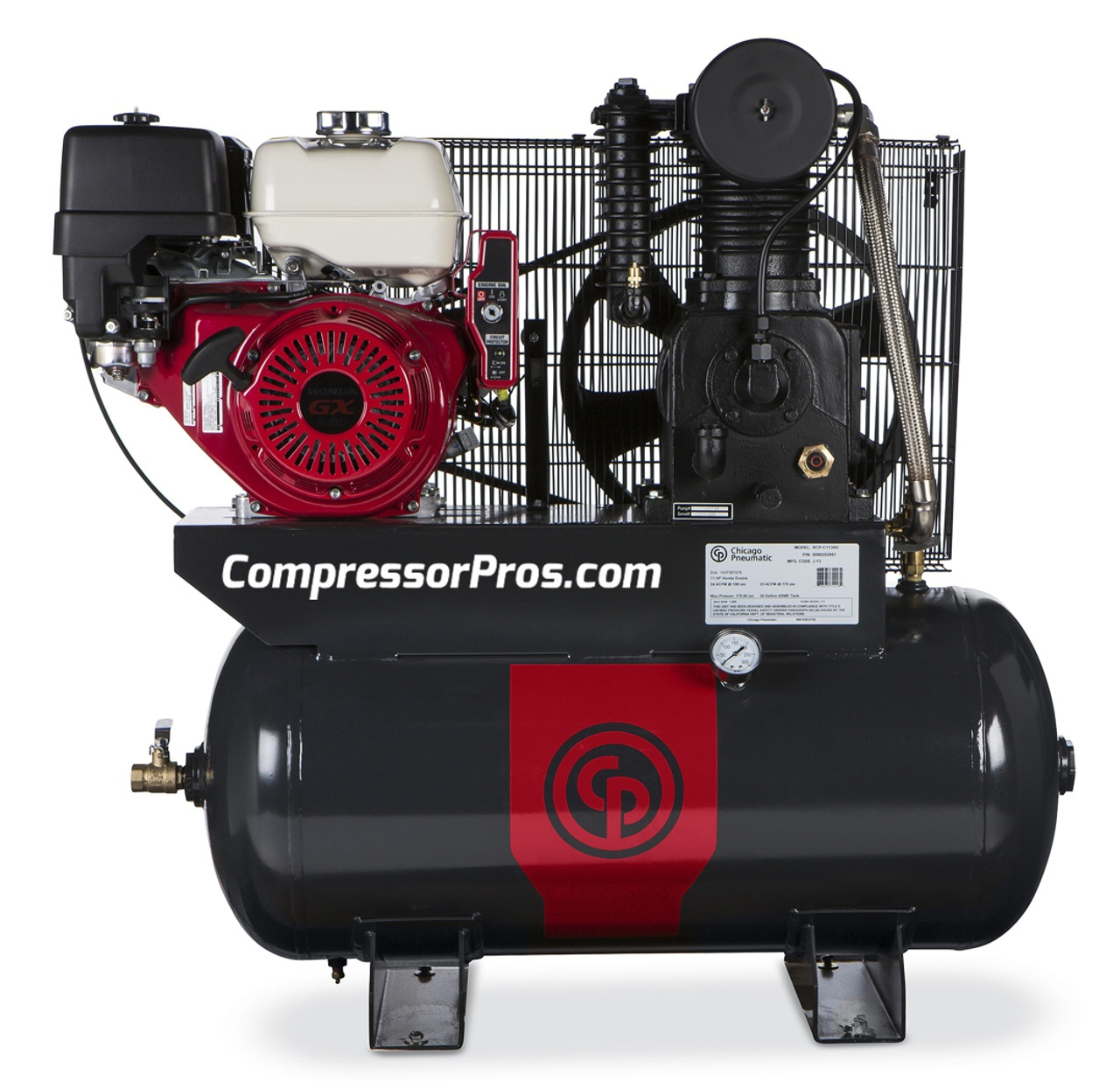 Chicago Pneumatic RCP-C1130G 11 HP Honda Gasoline Driven Two Stage Cast Iron 30 Gallon Air Compressor