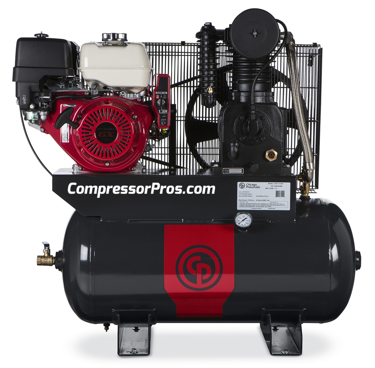 Chicago Pneumatic RCP-C1330G 13 HP Honda Gasoline Driven Two Stage Cast Iron 30 Gallon Air Compressor