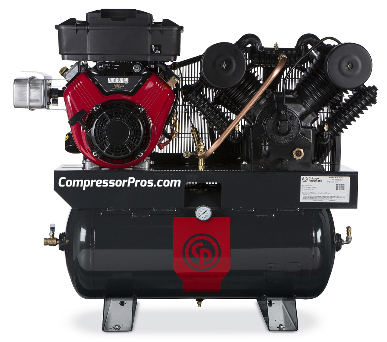 Chicago Pneumatic RCP-C1630G 16 HP Vanguard Gasoline Driven Two Stage Cast Iron 30 Gallon Air Compressor