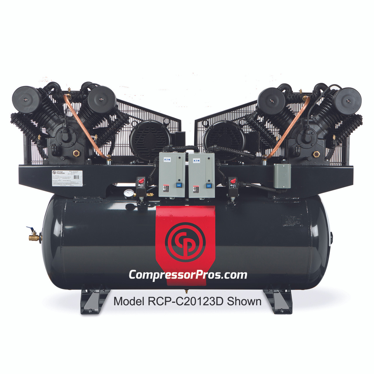 Chicago Pneumatic RCP-C20123D4 2 x 10 HP 460 Volt Three Phase Two Stage 120 Gallon Duplex Air Compressor