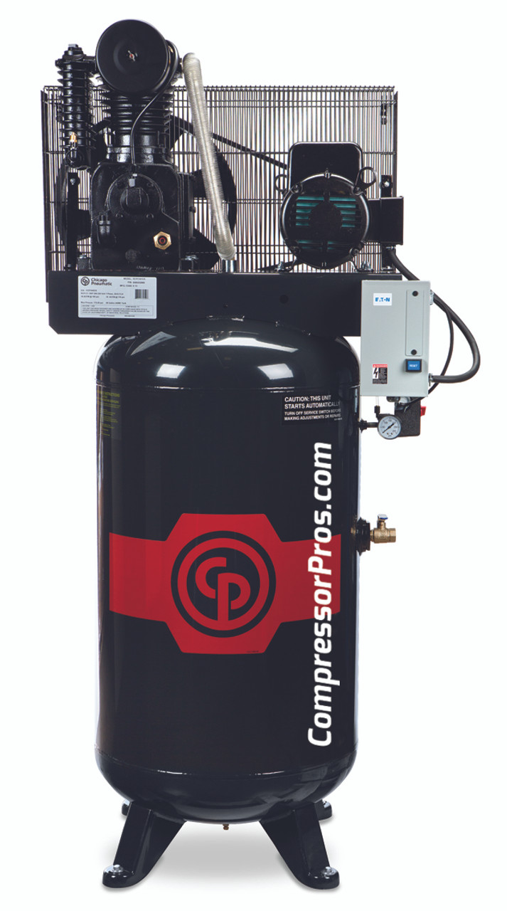 Chicago Pneumatic RCP-C7581V 7.5 HP 208-230 Volt Single Phase Two Stage Cast Iron 80 Gallon Full Featured Air Compressor