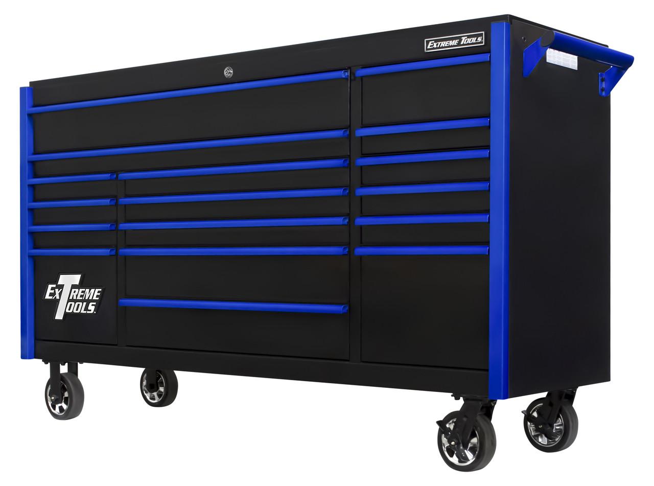 "Extreme Tools DX722117RCBKBL - DX Series 72"", 17 Drawer, 21"" Deep Roller Cabinet - Black with Blue Drawer Pulls"