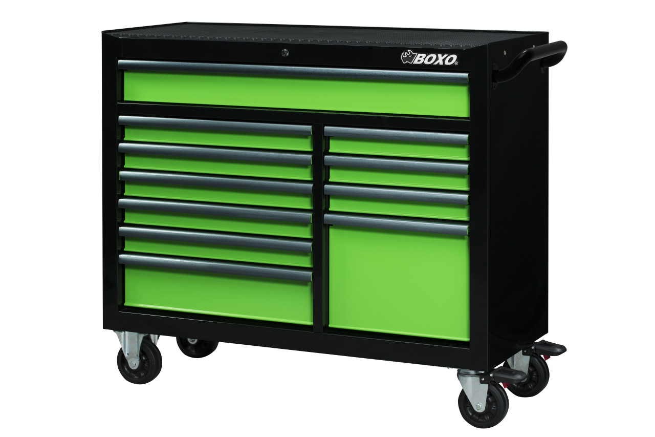 Boxo Usa Uat450111 G 11 Drawer Roller Cabinet Gloss Black Body Gloss Green Drawers With Black Anodized Drawer Pulls