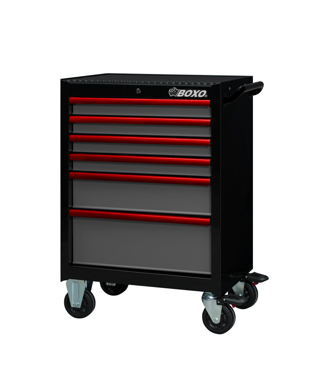 """BOXO USA 26TB-GY 26"""" Roller Cabinet and Top Chest - Gloss Black with Semi Gloss Gray Drawers with  Red Anodized Drawer Pulls"""