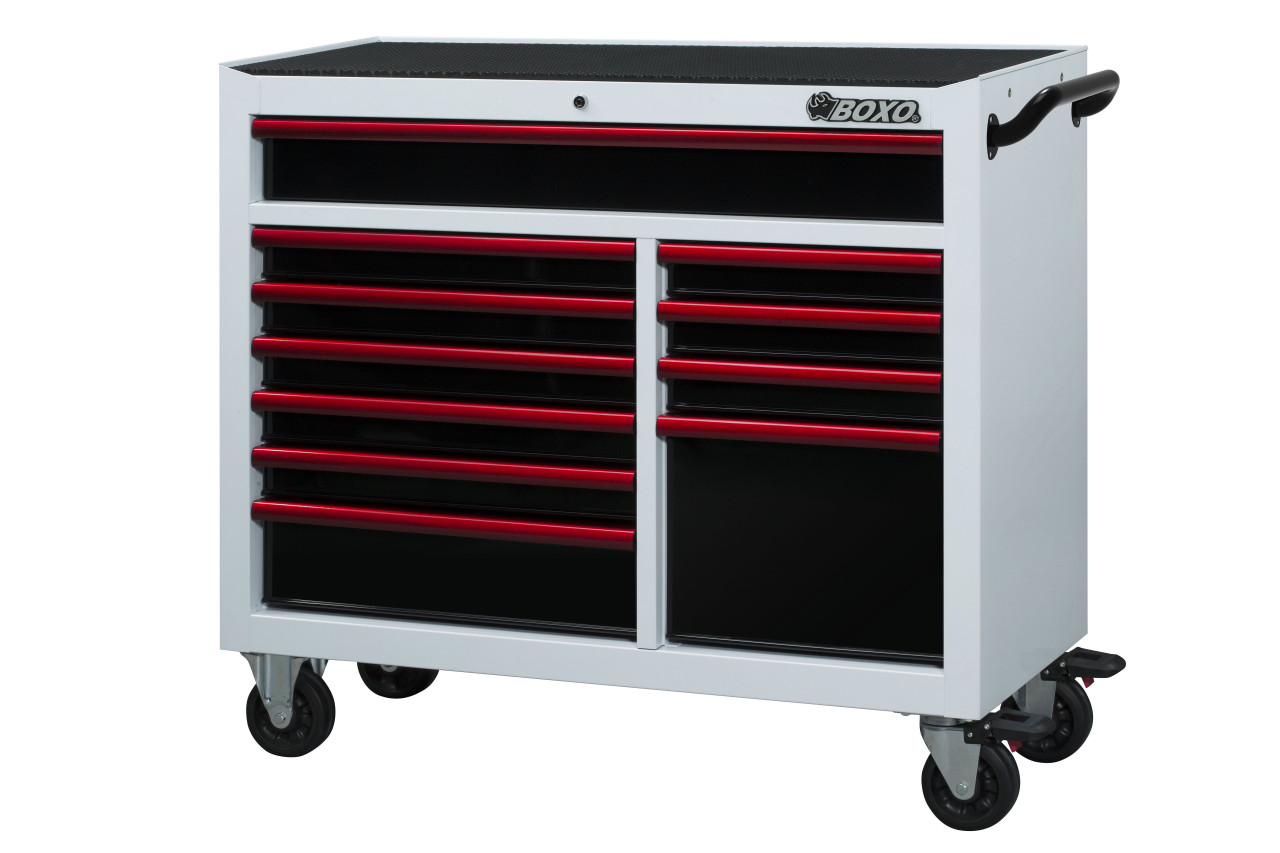 BOXO USA 45TB-R Roller Cabinet and Top Chest - Gloss White - Gloss Black Drawers with Red Anodized Drawer Pulls