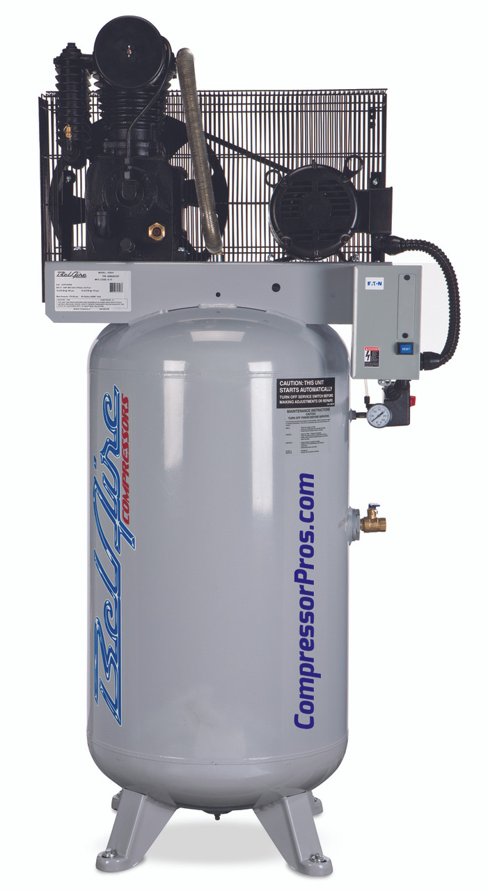 BelAire 438V 5 HP 208-230 Volt Three Phase Two Stage Cast Iron 80 Gallon Air Compressor